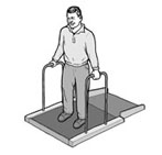 man weighed using accessible scale